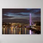 London Eye and River Thames at night Print