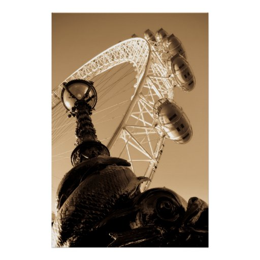 London Eye and Street lamp Poster