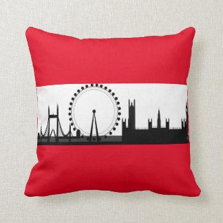 London Eye City Skyline England Red Throw Pillow