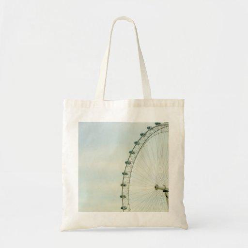 London Eye Green Blue Sky Canvas Bags