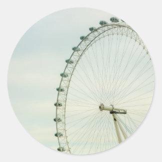 London Eye Green Blue Sky Round Sticker