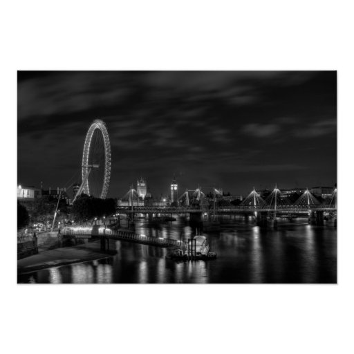 London Eye in Black and White Poster