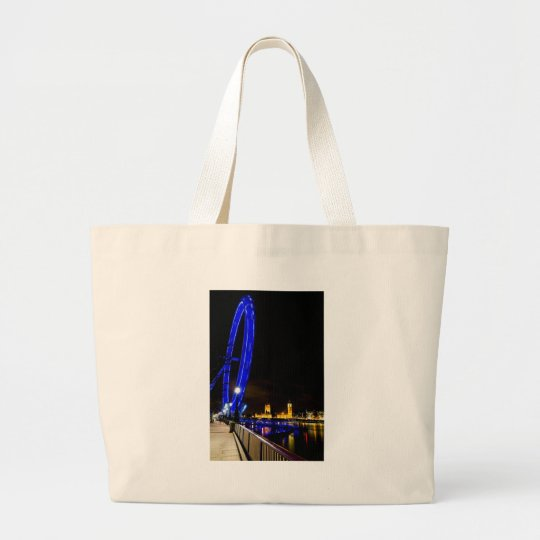 London Eye night view Large Tote Bag