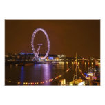 London Eye, River Thames and lights from Photo Print