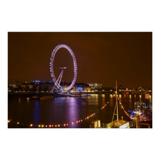 London Eye, River Thames and lights from Poster