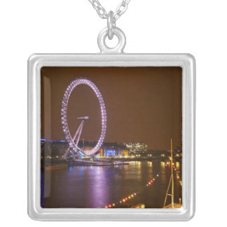 London Eye, River Thames and lights from Silver Plated Necklace