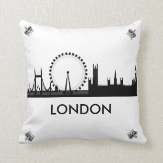 London Eye Skyline Royal Crown Throw Pillow