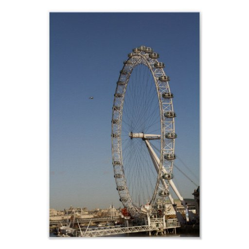 London Eye With helicopter Poster
