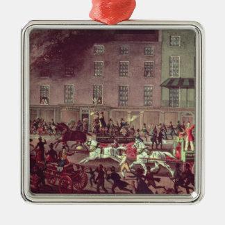 London Fire Engines, engraved by R.G. Reeve Square Metal Christmas Ornament