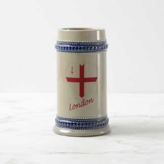 London Flag Heart with Name Beer Stein
