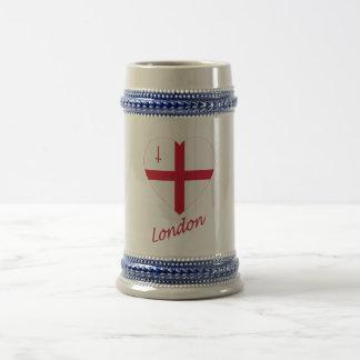 London Flag Heart with Name Mugs