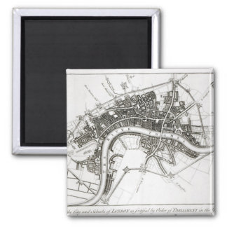 London Fortifications in 1642 and 1643, 1738 2 Inch Square Magnet