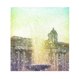 London Fountain Blue Yellow Snowy Skies Memo Notepad
