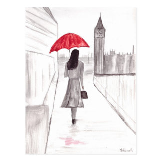 London girl with red umbrella postcard