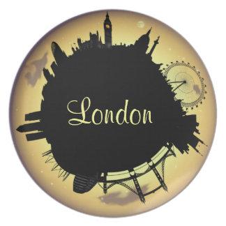 London  golden skyline dinner plate