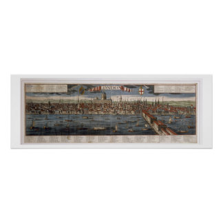 London (hand coloured engraving) poster
