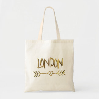 London Heart Arrow Elegant Gold Brown Typography Tote Bag