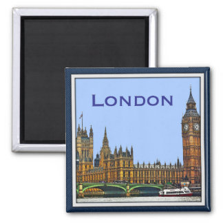 London Houses of Parliament 2 Inch Square Magnet