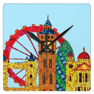 London Icon Building Mozaic Square Wall Clocks
