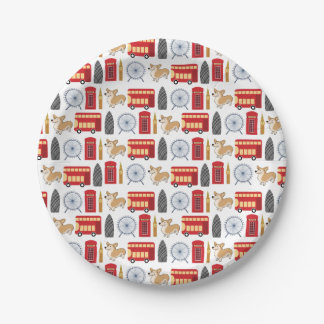 London Icon Collage Paper Plate