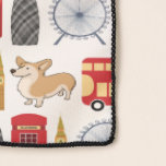 """London Icon Collage Scarf<br><div class=""""desc"""">All the favorites including the Queen's corgi on decorative London collage scarf.</div>"""