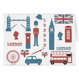 London Icons Retro Love Souvenir blank note card