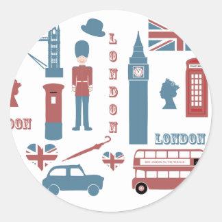 London Icons Retro Love Souvenir round stickers