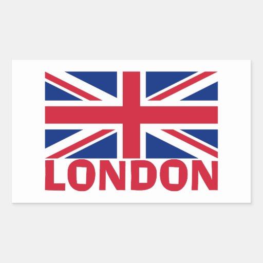 London in Red Rectangular Sticker