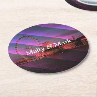 London in Stripes Round Paper Coaster