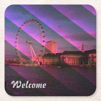 London in Stripes Square Paper Coaster