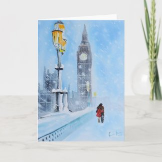 London in the snow holiday card
