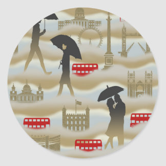 London Landmarks Red Double-Decker Buses in Fog Classic Round Sticker