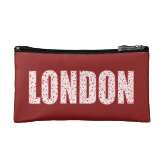 London (London Pride flower pattern, typography) Makeup Bag
