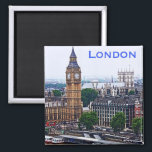 """London Magnet<br><div class=""""desc"""">Westminster Abbey and the famous Big Ben bell in its clock tower and the edge of the Houses of Parliament,  are both found on the banks of the River Thames in London,  England.</div>"""