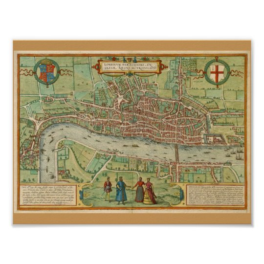 Map Of London 1600.London Map 1600 Poster