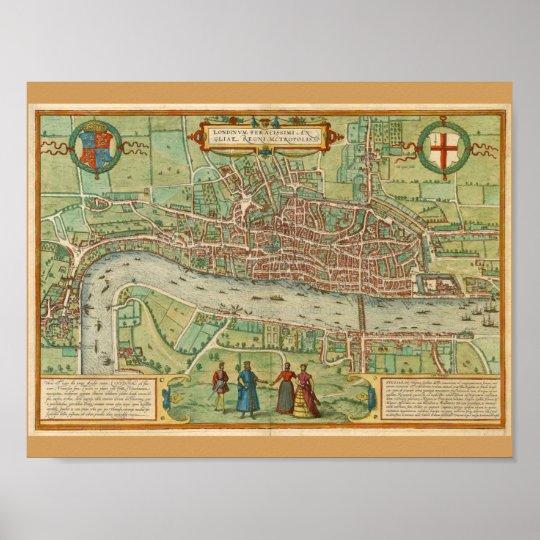 London 1600 Map.London Map 1600 Poster