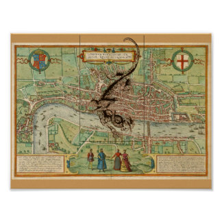 London Map 1600 with Dragon Poster