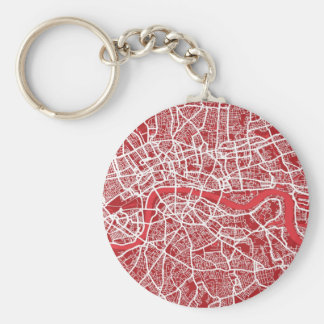 London Map Art Red Keychain