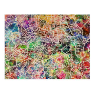 London Map Art Watercolour Postcard