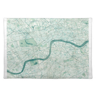 London Map Blue Vintage Watercolor Cloth Placemat