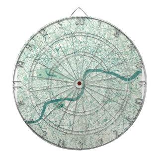 London Map Blue Vintage Watercolor Dartboard