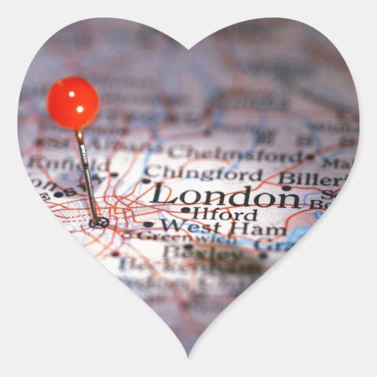 LONDON map Heart Sticker