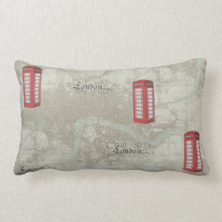 London Map Red Phone Booth Pillow