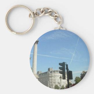 London-Nelson's column Basic Round Button Keychain