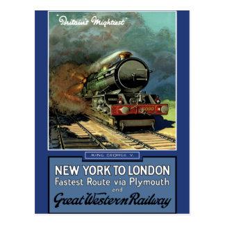 London  New York Great Western Railway Postcard
