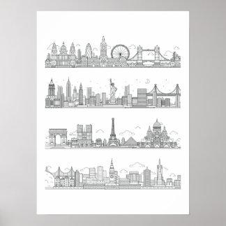 London New York Paris San Francisco Skyline Poster