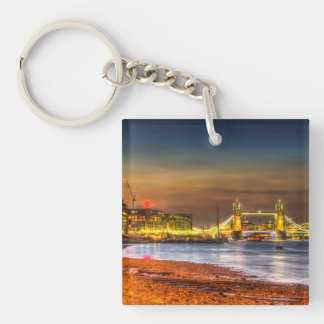 London Night View Single-Sided Square Acrylic Keychain
