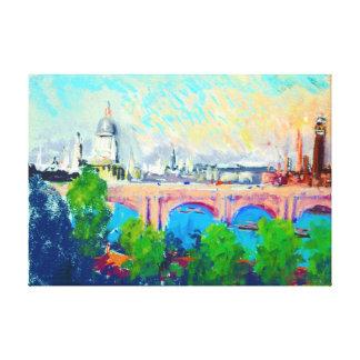 London over Waterloo Bridge 1880 Canvas Print