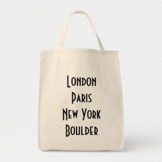 London Paris New York Boulder Tote Bags