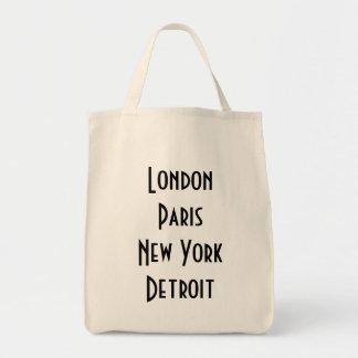 London Paris New York Detroit Canvas Bags